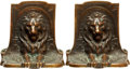 Books:Furniture & Accessories, [Bookends]. Pair of Matching Bronze Bookends Depicting Lion Head.Unsigned, Circa 1925....