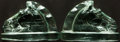 Books:Furniture & Accessories, [Bookends]. Pair of Matching Solid Glass Bookends Depicting HorseHead. Unsigned, undated....