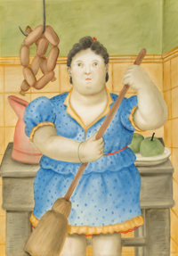 Fernando Botero (b. 1932) Woman in the Kitchen, 1981 Watercolor on paper 63 x 43-1/2 inches (160
