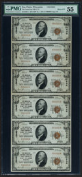 National Bank Notes:Wisconsin, Eau Claire, WI - $10 1929 Ty. 1 The American NB & TC Ch. # 13645 Uncut Sheet of Six. ...