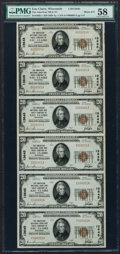 National Bank Notes:Wisconsin, Eau Claire, WI - $20 1929 Ty. 1 The American NB & TC Ch. # 13645 Uncut Sheet of Six. ...