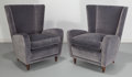 Furniture : Continental, Paolo Buffa (Italian, 1903-1970). Pair of Lounge Chairs from theHotel Bristol, Merano, circa 1950. Velveteen upholstery...(Total: 2 Items)