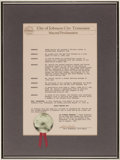 Baseball Collectibles:Others, 1991 Bobby Murcer Day in Johnson City, Tennessee MayoralProclamation....
