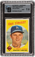 Baseball Cards:Unopened Packs/Display Boxes, 1959 Topps Baseball 4th Series Cello Pack GAI NM+ 7.5 With DonZimmer Top Card....