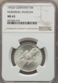 Germany:Federal Republic, Germany: Federal Republic 5 Mark 1952-D Nurnberg Museum MS65NGC,...