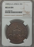 German East Africa, German East Africa: German Colony 5 Heller 1909-J MS64 Brown NGC,  ...