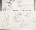 animation art:Model Sheet, Woodpecker in the Rough Woody Woodpecker Studio Model Sheet(Walter Lantz, 1952)....