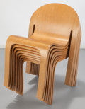 Furniture , Peter Danko (American, b. 1949). Eight Eco-Eden Chairs, 1982. Ash plywood. 32-3/4 x 21-1/8 x 21 inches (83.2 x 53.7 x 53... (Total: 8 Items)