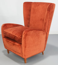 Paolo Buffa (Italian, 1903-1970) Lounge Chair from the Hotel Bristol, Merano, circa 1950 Velveteen u