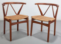 Furniture : Continental, Danish School (20th Century). Pair of Wishbone Chairs, circa1955. Stained oak, cord. 28-3/4 x 21-1/2 x 18-1/2 inches (7...(Total: 2 Items)