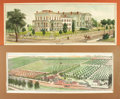 Books:Prints & Leaves, [California]. Pair of Nineteenth-Century Engraved Prints withHand-Coloring Depicting California Residences. [Oakland:] Thom...