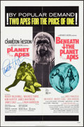 """Movie Posters:Science Fiction, Planet of the Apes/Beneath the Planet of the Apes Combo (20th Century Fox, R-1971). Autographed One Sheet (27"""" X 41""""). Scien..."""