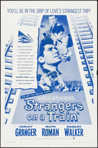 """Strangers on a Train (Warner Brothers, R-1957). One Sheet (27"""" X 41""""). Hitchcock"""