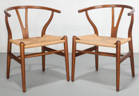 Hans Wegner (Danish, 1914-2007) Pair of Wishbone Chairs, circa 1950, Carl Hansen & Son Oak, cord