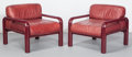 Furniture : Continental, Gae Aulenti (Italian, 1927-2012). Pair of Lounge Chairs,circa 1970, Knoll Corp.. Enameled tubular steel, oxblood leathe...(Total: 2 Items)
