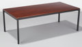 Furniture : American, Florence Knoll (American, b. 1917). T-Angle Coffee Table, circa 1961, Knoll Corp.. Mahogany, enameled steel. 16 x 45 x 2...