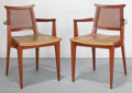 Furniture : American, Edward Wormley (American, 1907-1995). Pair of Armchairs withOriginal Cushions, circa 1950, Dunbar. Mahogany with caning...(Total: 2 Items)
