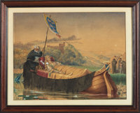 [Original Art]. Unknown Artist. SIGNED. Original Watercolor Drawing Depicting Funeral Barge. Dated 1862
