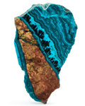 Lapidary Art:Boxes, Polished Chrysocolla Slab. Bagdad Copper Mine. Yavapai County.Arizona. 3.69 x 2.29 x 0.27 inches (9.36 x 5.82 x 0.69 cm)...