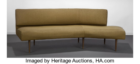 Edward Wormley (American, 1907-1995)Winged Gabrielle Arc Sofa, 1947, Modern for DunbarWool upholstery, gilt metal le...