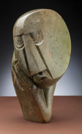 Furniture, Moses Masaya (Zimbabwe, 1947-1995). Shona Head on Hand. Green granite. 11 x 22 inches (27.9 x 55.9) on a 25-1/2 inches (... (Total: 2 Items)