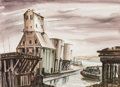 Fine Art - Painting, American:Modern  (1900 1949)  , Viktor Schreckengost (American, 1906-2008). WeatheredTowers, 1947. Watercolor on Whatman board. 22 x 30 inches (55.9x ...