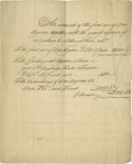 """Miscellaneous:Ephemera, Slave Expense Document, one page, 7.0"""" x 9.0"""", circa 1800. Thisanonymous manuscript itemizes the costs associated with a la..."""