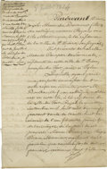 Antiques:Black Americana, Louisiana Slave Document in French. This document is dated July 8th, 1828; it contains six handwritten pages in dark iron-...