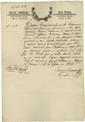 "Autographs:Non-American, Texas Revolution Autograph Document Signed, ""CerorireGuerra"". One page, 8.5"" x 12.25"", March 16, 1837. Very rarecommi..."