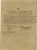 "Autographs:Statesmen, Republic of Texas Document Signed, ""John Bevil"". One pagepartially printed document, 7.25"" x 10.0"", Jasper, Texas, Jul..."