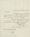 """Autographs:Military Figures, Jefferson Davis: A Beautiful Autograph Letter for Display. ALS,measuring 7.75"""" x 9.75"""". It is in virtually pristine conditi..."""