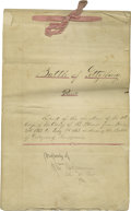 "Autographs:Military Figures, Doubleday's Report of the Battle of Gettysburg Contemporaneous Manuscript Signed on cover page: ""Property of/J. Wm Hofman..."