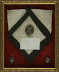 Military & Patriotic:Civil War, General Robert E. Lee Funeral Relics: Black-bordered silk handkerchief, and hand-painted jewelry with confederate battle flag ...