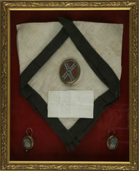 General Robert E. Lee Funeral Relics: Black-bordered silk handkerchief, and hand-painted jewelry with confederate battle...