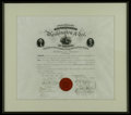 """Autographs:Military Figures, Washington and Lee University 1874 Diploma Measuring 16"""" x 13.5"""" (21.5"""" x 19"""" as attractively custom framed), and signed by..."""