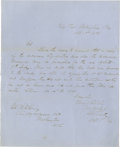 Autographs:Military Figures, Rare Confederate General George E. Pickett Autographed Letter Signed An October 1, 1856 letter with military content written...