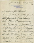 """Autographs:Military Figures, General Philip Sheridan Autographed Letter Signed, Written to General Winfield Scott Hancock. 3 pp, measuring 5"""" x 6.50"""", on..."""