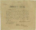 "Autographs:Military Figures, Civil War Amnesty Oath Signed, ""Charles H. Leonard"".Partially printed document, 9.75"" x 8.0"", Galveston, Texas, July1..."