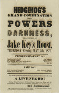 Antiques:Black Americana, Outrageous 1870 Racist Broadside, Satirizing the Recently-Adopted 15th Amendment An advertisement for a night of entertainme... (Total: 1 sets)