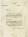 """Autographs:Statesmen, Associate U.S. Supreme Court Justice Harold H. Burton Letter, withFine Legal Content Dealing with the """"Right of Expatriation..."""