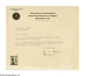"""Autographs:Military Figures, J. Edgar Hoover Typed Letter Signed, """"J. E. Hoover."""" This one page, typed letter measures 8"""" x 7"""", and is typed on J. Ed..."""