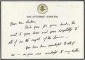 Autographs:Statesmen, Stellar Robert F. Kennedy ALS on Black-Bordered Attorney Generalnote card just after JFK's assassination. Official embossed...(Total: 2 items)