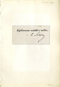 "Autographs:Statesmen, Carl Schurz Autograph Quotation Signed ""Righteousness exalteth anation. C. Schurz."" A 4.7"" x 2.5,"" clipped sheet of pa..."