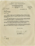 """Autographs:Military Figures, C.L. Chennault Typed Letter Signed """"C.L. Chennault."""" One page document, measuring 8.5"""" x 11"""", dated September 12, 1947, ..."""