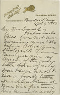 "Autographs:Celebrities, Buffalo Bill Cody Autograph Letter Signed ""B.B. Cody."" 4.5""x 7"", 2 page letter, dated October 4, 1903, on Buffalo Bil...(Total: 3 )"