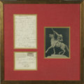 "Autographs:Celebrities, William F. ""Buffalo Bill"" Cody Autograph Letter Signed W. F.Cody. Along with original mailing envelope, postmarked 1893..."
