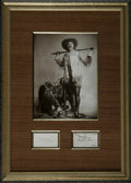 "Autographs:Celebrities, Buffalo Bill Autograph, ""True to friends & foes W.F. Cody'Buffalo Bill' 1892"". One page, 3.5"" x 2.0"". This autographap..."