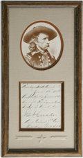 """Autographs:Military Figures, George Armstrong Custer Autograph Note Signed, """"G A Custer"""". One page, 3.5"""" x 3.75"""", Fort Lincoln, Dakota Territory, Jun..."""