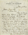 Autographs:Celebrities, Garfield Assassin Charles J. Guiteau: A beautiful letter on hisornate letterhead. Autograph Letter Signed, one page, measur...