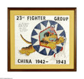 """Autographs:Military Figures, Fighting Tiger Ace """"Tex"""" Hill Original Artwork Signed, """" To Ed Harris all the best to a fellow aviator 'Tex' Hill C.O. 23... (Total: 11 items)"""